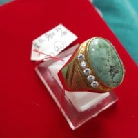 Cincin Emas Batu Bacan Virus Natural Gemstone Serat akik America dia
