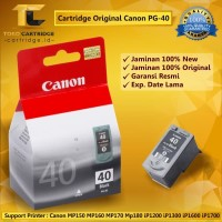 Cartridge Canon PG40 PG 40 PG-40 Black Original Printer IP1980 IP1880