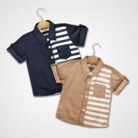 Kicaukecil Raditya Shirt - Kemeja Anak Stripes Garis 6M-8T Navy,Brown