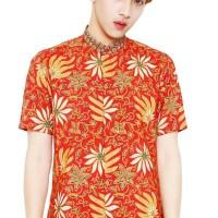 Batik Flike Store Kemeja Lengan Pendek Shanghai Neck Red Max - Merah,