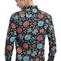 Batik Flike Store Kemeja Lengan Panjang Flower Addiction - Hitam, Xs