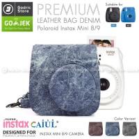 Fujifilm Leather Bag Polaroid Instax Mini 8 & 9 Tas Denim Jeans Case