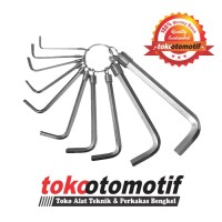 Kunci L Set 10 Pcs Chrome / Hex Key Wrench / Kunci L Set Murah