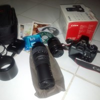 Kamera dslr eos canon 1100d fullset plus lensa tele sigma 70-300mm