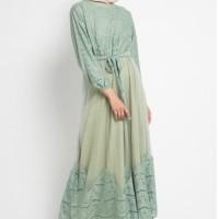 Baju Muslim Wanita Lavania Dress Muslim Warna hijau brukat tulle panel