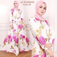 Maxi Emma (80) Bunga Baju Muslim Wanita Gamis Model Kekinian Terbaru
