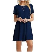 Shift Dress Spandex Baju Murah Casual Wanita Kekinian