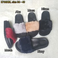 Jelly sandal bara bara sendal wanita karet import bulu 8768kbl