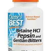 Doctor's Best Betaine HCI Pepsin and Gentian Bitters, Capsules, 120Cps