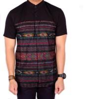 Kemeja Batik baju cowok lengan pendke hitam kombinasi tribal batik