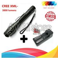 PAKET KOMPLIT Senter LED Cree 2 Baterai XM-L T6 Plus Baterai & Cas