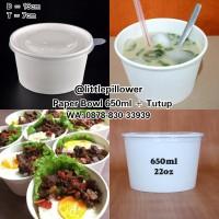 Paper bowl 650ml + tutup/paper bento tray/mangkok kertas/mangkuk sup