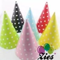 Topi ulang tahun motif polkadot