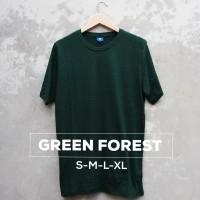 Baju Kaos Polos Tangan Lengan Pendek GREEN FOREST Hijau Botol Bandung