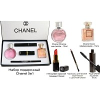 chanel set 5 in1 / parfum lipstick eyebrow mascara / chanel kosmetik
