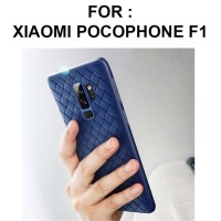 Case Xiaomi Pocophone F1 softcase casing hp back cover leather WOVEN