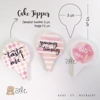 (TOPER netral07) cake topper penghias kue lucu dan unik pink