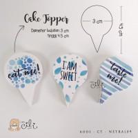 (TOPER netral09) cake topper penghias cupcake lucu dan unik sweet blue