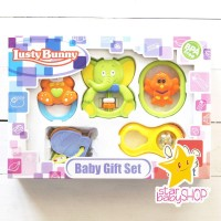 LUSTY BUNNY BABY GIFT/ FEEDING TOYS SET/ MAINAN RATTLE 5IN1