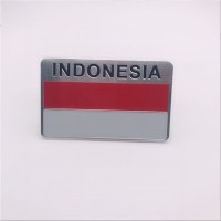 O/53 Emblem Mobil Car Accessories Alumunium Sticker Indonesia Flag