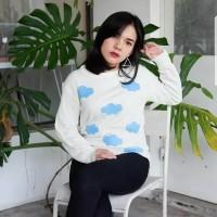 Atasan top baju sweater rajut knit cloudy cloud putih white awan cute