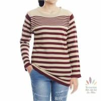Atasan top baju blouse rajut knit stripes lengan panjang