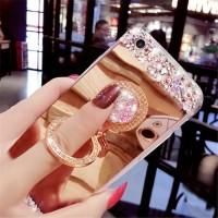 Casing Hp Samsung J8 2018 Diamond Mirror   Ring Stand Case Lucu Soft