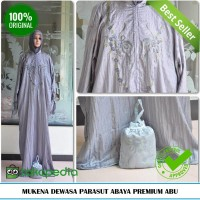 Jual Mukena Dewasa Terbaru Tanpa Kepala Parasut Abaya Premium Abu Murah