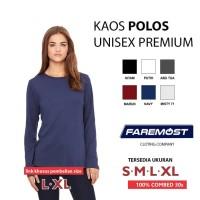 Kaos Wanita faremost-kaos Wanita Polos Lengan panjang Cotton Combed