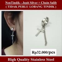 Anting NON Tindik - Jepit Silver + Chain Salib