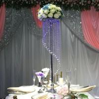 Candle Holder Flower Holder Silver Crystal Centerpiece - Height 69cm