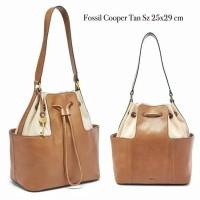 Fossil Cooper Bucket Bag Tan Henna Black Floral Bay Leaf Green Neutral