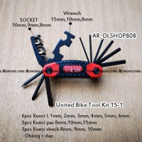 Kunci Set ToolKit Kunci Kombinasi Bike Tool Kit United 15 In 1 Kunci L