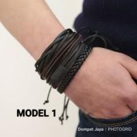Gelang Pria Gelang Wanita Gelang Jangkar Bracelet - Hitam