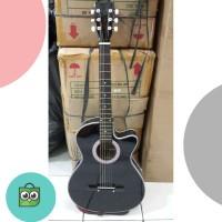 Gitar Akustik Yamaha Hitam BONUS SOFTCASE DAN PICK Murah