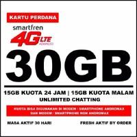 Kartu Perdana Smartfren 4G LTE Kuota 30GB (15GB Utama+15GB Malam)