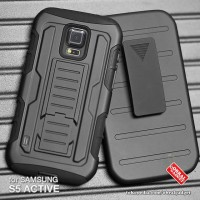 Armor Case Samsung S5 Active G870 Soft & Hard Casing Cover Belt Clip