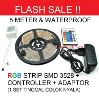 Lampu LED STRIP 3528 SMD 2835 IP44 IP 44 RGB+REMOTE+ADAPTOR+MODUL SET