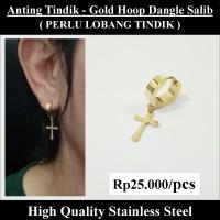 Anting Tindik Cowok Pria - Gold Hoop Dangle Salib