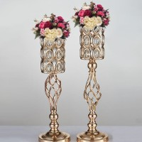 Flower Holder Candle Holder 2 in 1 Gold Large Beaded Crystal DISKON