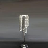 Flower Holder Tempat Lilin Flat Silver Crystal Centerpiece - 70cm