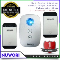 Bell Rumah Bel Pintu Wireless - Idealife IL-295s 2 Remot Tanpa Baterai