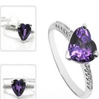 Cincin(Wanita) Natural S925 Purple Zircon Model Love