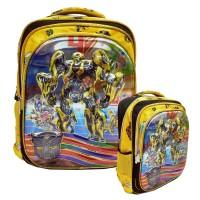 Tas Anak Ransel SD Transformers 5d Timbul Hologram Import - Yellow