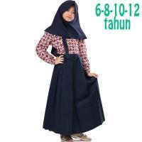 Baju Muslim Gamis Anak Perempuan Batik Merah Biru Navy 6 8 10 12 Tahun 3125191537
