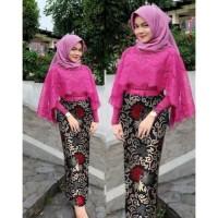 Baju Kebaya Setelan wanita cape Siti brokat kombinasi batik 2 in1