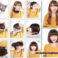 Aksesoris fashion kecantikan HO24046 Wig Ful Rambut Wanita Palsu