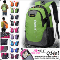 RANSEL UNISEX Q14oi SPORTY LAPTOP SCHOOL BACKPACK GALERI INTAN BATAM