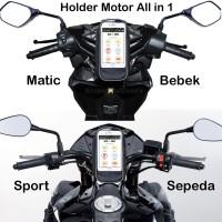 All in 1 Tas Holder HP Handphone Spidometer Spion Stang Sepeda Motor