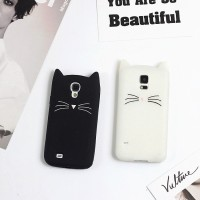 Samsung Note 3/4/5 Mobile Phone Bag Cute 3D Mustache Cat Silicone